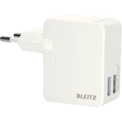 LEITZ USB-Ladegerät, 2 x USB-Kupplung, 12 Watt, weiß