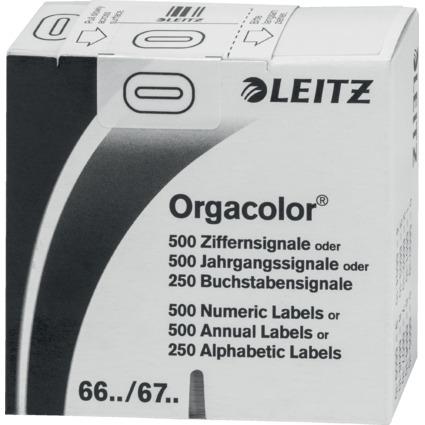 """LEITZ Ziffernsignal Orgacolor """"0"""", auf Rolle, weiß"""