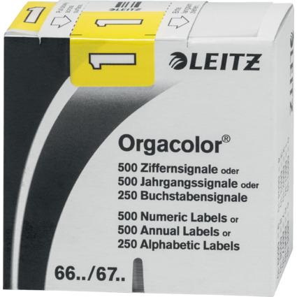 """LEITZ Ziffernsignal Orgacolor """"1"""", auf Rolle, gelb"""