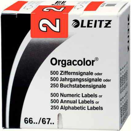 """LEITZ Ziffernsignal Orgacolor """"2"""", auf Rolle, rot"""