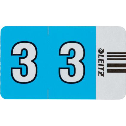 """LEITZ Ziffernsignal Orgacolor """"3"""", auf Streifen, hellblau"""