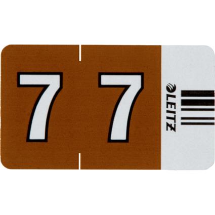 """LEITZ Ziffernsignal Orgacolor """"7"""", auf Streifen, braun"""
