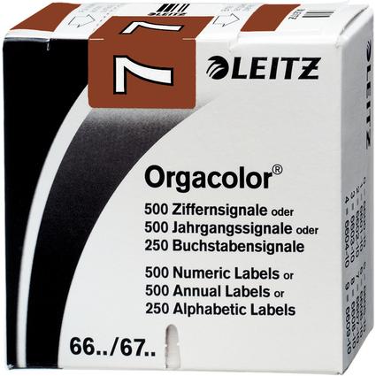 """LEITZ Ziffernsignal Orgacolor """"7"""", auf Rolle, braun"""