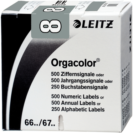 "LEITZ Ziffernsignal Orgacolor ""8"", auf Rolle, grau"