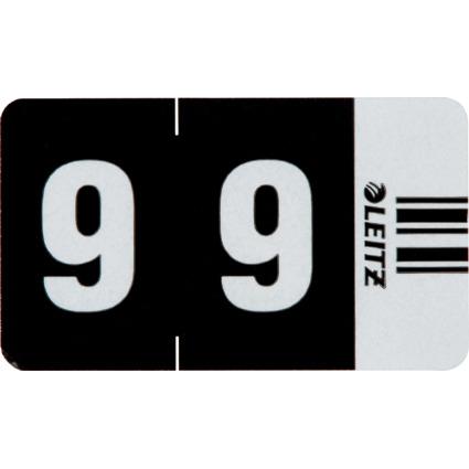 """LEITZ Ziffernsignal Orgacolor """"9"""", auf Streifen, schwarz"""