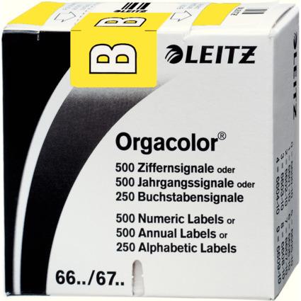 """LEITZ Buchstabensignal Orgacolor """"B"""", auf Rolle, gelb"""