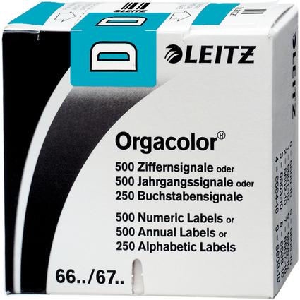 """LEITZ Buchstabensignal Orgacolor """"D"""", auf Rolle, blau"""