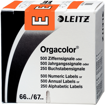 "LEITZ Buchstabensignal Orgacolor ""E"", auf Rolle, orange"