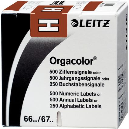 """LEITZ Buchstabensignal Orgacolor """"H"""", auf Rolle, braun"""