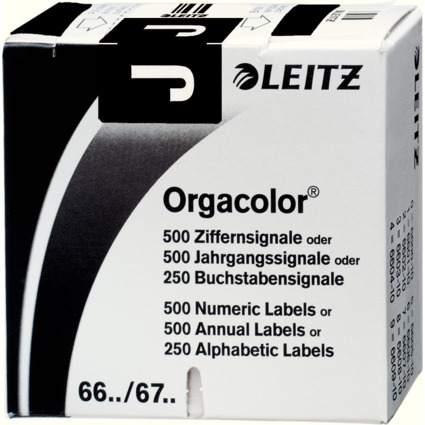 """LEITZ Buchstabensignal Orgacolor """"J"""", auf Rolle, schwarz"""