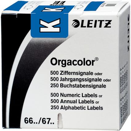 """LEITZ Buchstabensignal Orgacolor """"K"""", auf Rolle, dunkelblau"""