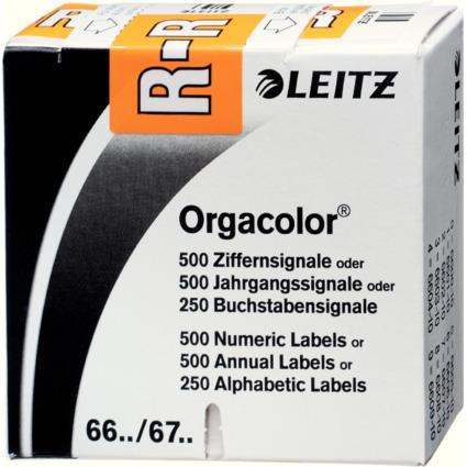 """LEITZ Buchstabensignal Orgacolor """"R"""", auf Rolle, orange"""
