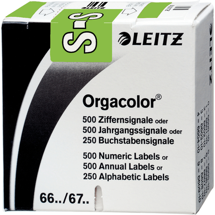 """LEITZ Buchstabensignal Orgacolor """"S"""", auf Rolle, grün"""