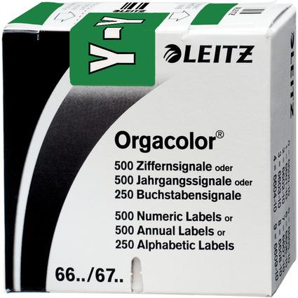 """LEITZ Buchstabensignal Orgacolor """"Y"""", auf Rolle, dunkelgrün"""