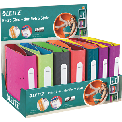 LEITZ Ordner Retro Chic, 180 Grad, 15er Display