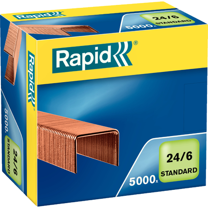 Rapid Heftklammern Standard 24/6, verkupfert