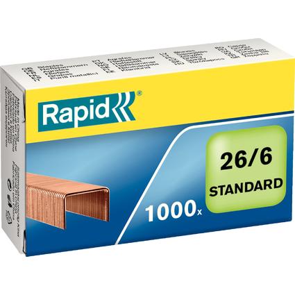 Rapid Heftklammern Standard 26/6, verkupfert
