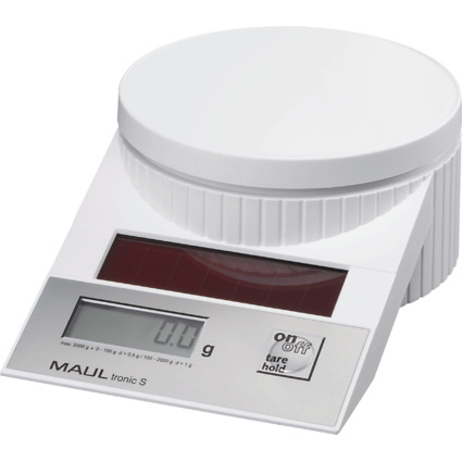 MAULtronic S Solar Briefwaage, Tragkraft: 2 kg, weiß