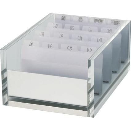 MAUL Visitenkartenbox MAULacro, Acryl/Aluminium, glasklar
