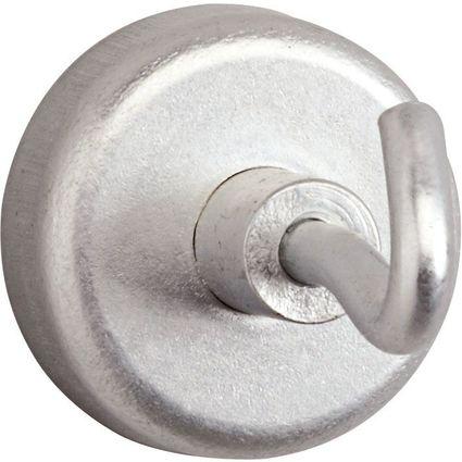 MAUL Kraftmagnet mit Haken, Durchmesser: 25 mm, silber