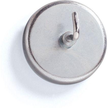 MAUL Kraftmagnet mit Haken, Durchmesser: 47 mm, silber