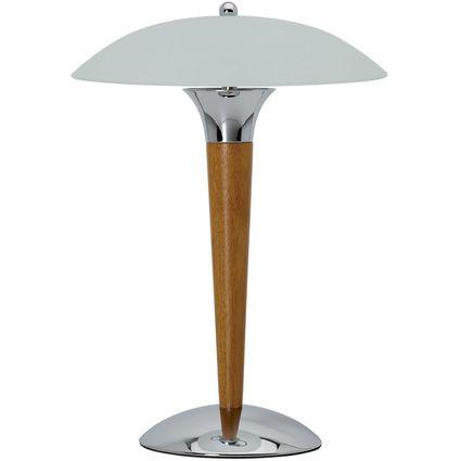 MAUL Energiespar-Tischleuchte MAULdome, silber/Kirschbaum
