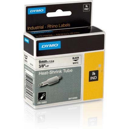 DYMO RHINO Heißschrumpfschlauch schwarz/weiß, 9 mm x 1,5 m