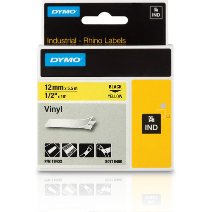 DYMO RHINO Vinyl-Schriftband schwarz/gelb, 12 mm x 5,5 m