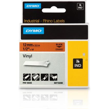 DYMO RHINO Vinyl-Schriftband schwarz/orange, 12 mm x 5,5 m