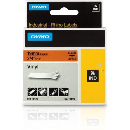 DYMO RHINO Vinyl-Schriftband schwarz/orange, 19 mm x 5,5 m