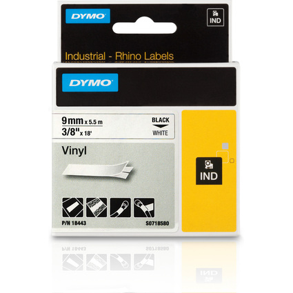 DYMO RHINO Vinyl-Schriftband schwarz/weiß, 9 mm x 5,5 m