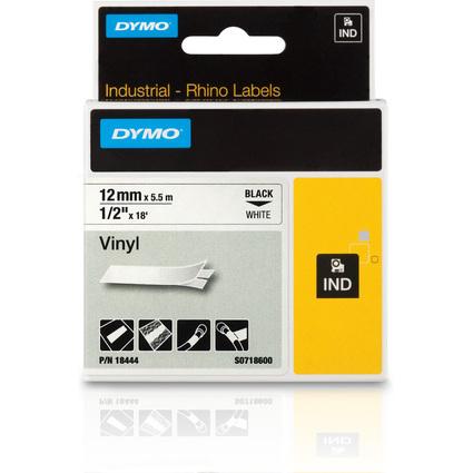 DYMO RHINO Vinyl-Schriftband schwarz/weiß, 12 mm x 5,5 m