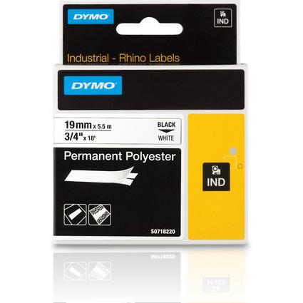DYMO Polyester-Schriftband, Breite: 19 mm, weiß, permanent