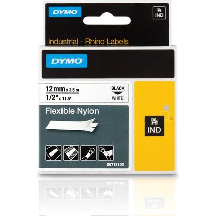 DYMO RHINO Nylon-Schriftband schwarz/weiß, 12 mm x 3,5 m