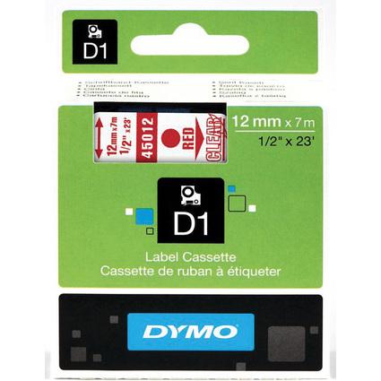 DYMO D1 Schriftbandkassette rot auf transparent 12 mm/7,0 m