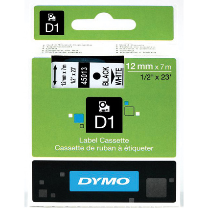 DYMO D1 Schriftbandkassette schwarz auf weiß, 12 mm / 7 m