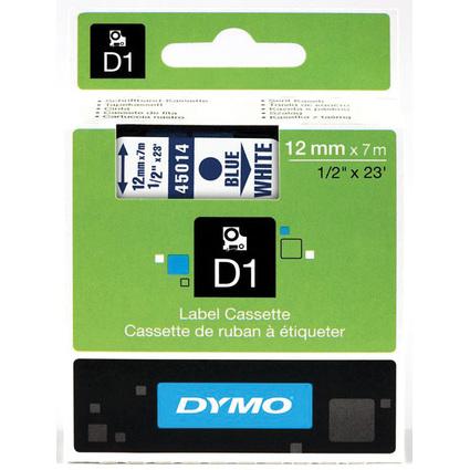 DYMO D1 Schriftbandkassette blau auf weiß  12 mm/7,0 m