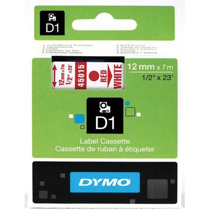 DYMO D1 Schriftbandkassette rot auf weiß  12 mm/7,0 m