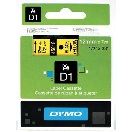 DYMO D1 Schriftbandkassette schwarz auf gelb  12 mm/7,0 m