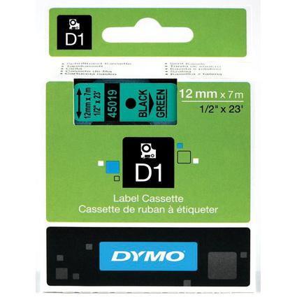 DYMO D1 Schriftbandkassette schwarz/grün, 12 mm x 7 m