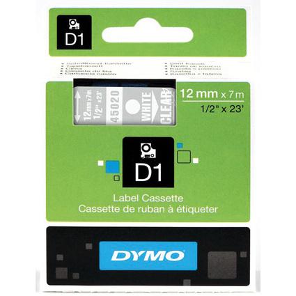 DYMO D1 Schriftbandkassette weiß/transparent, 12 mm x 7 m