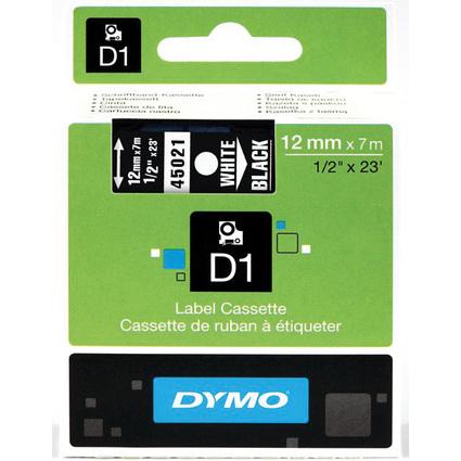 DYMO D1 Schriftbandkassette weiß auf schwarz  12 mm/7,0 m