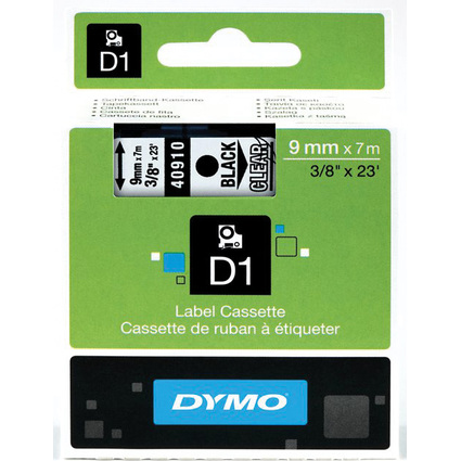 DYMO D1 Schriftbandkassette schwarz/transparent, 9 mm x 7 m