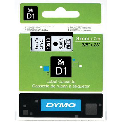 DYMO D1 Schriftbandkassette schwarz/weiß, 9 mm x 7 m