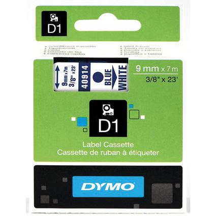 DYMO D1 Schriftbandkassette blau auf weiß  9 mm/7,0 m