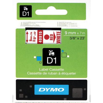 DYMO D1 Schriftbandkassette rot auf weiß  9 mm/7,0 m