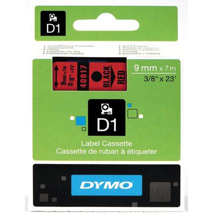 DYMO D1 Schriftbandkassette schwarz auf rot  9 mm/7,0 m