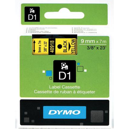 DYMO D1 Schriftbandkassette schwarz/gelb, 9 mm x 7 m