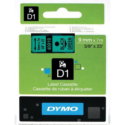 DYMO D1 Schriftbandkassette schwarz/grün, 9 mm x 7 m
