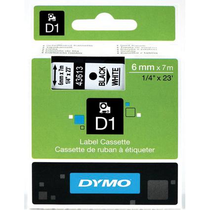 DYMO D1 Schriftbandkassette schwarz auf weiß  6 mm/7,0 m